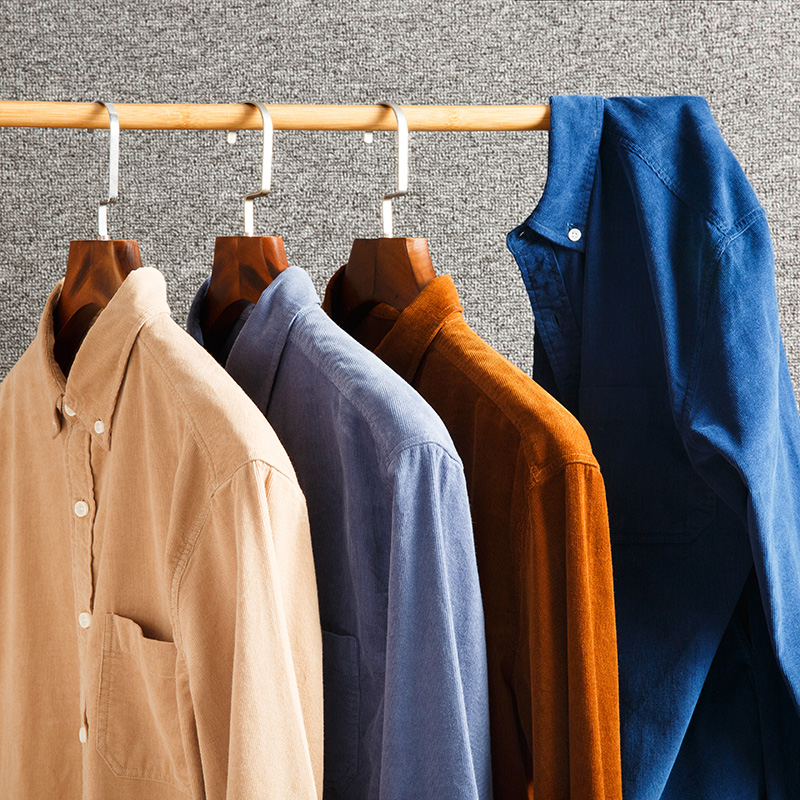 Image 2 - Mens Long Sleeve Standard fit Solid Corduroy Cotton Shirt Single Patch Pocket Comfortable Casual Workwear Button down ShirtsDress Shirts   -