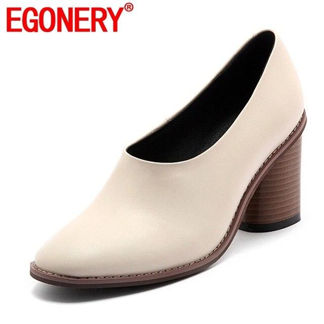 Egonery signore dell'ufficio di lavoro scarpe 2019 nuovo stile punta rotonda concise vestito scarpe da donna punta rotonda tacchi alti per la primavera calzature