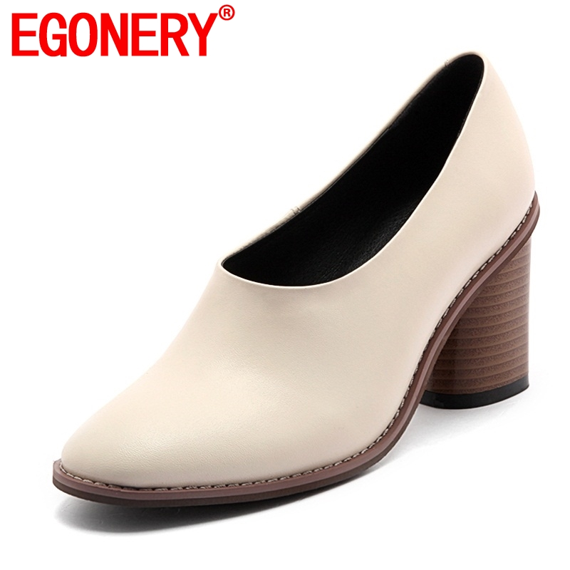 egonery office ladies working shoes 2019 new style round toe concise dress shoes woman round toe  high heels for spring footwear-in Women's Pumps from Shoes    1