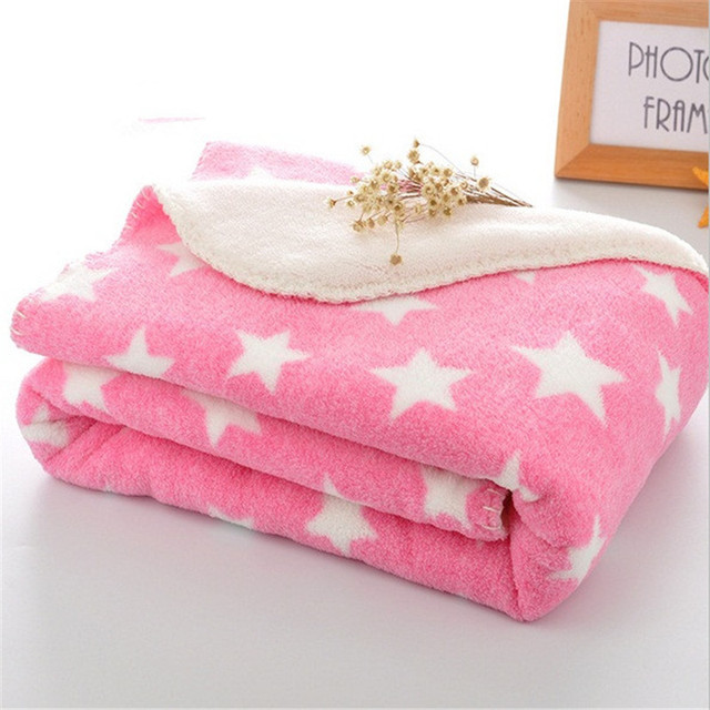 Pink Star Blanket Ab Side Coral Fleece And Berber Fleece Children's Blandets Throw Sofa Plane Adult Knee Cover Blankets 100*75cm by Egw