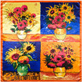 90cm*90cm women silk feeling large square scarf brand Van Gogh Four Sunflowers Printed Oil Painting style female floral scarves