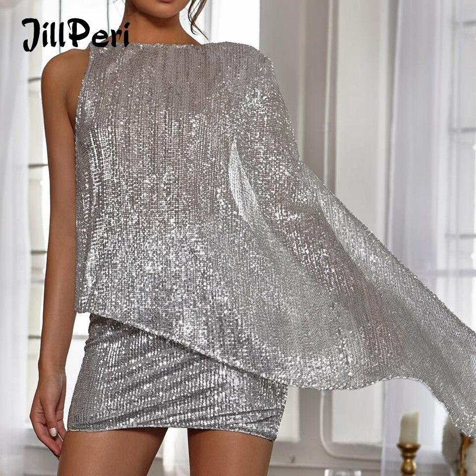 Платье JillPeri, блестящее, с открытой спиной, на одно плечо