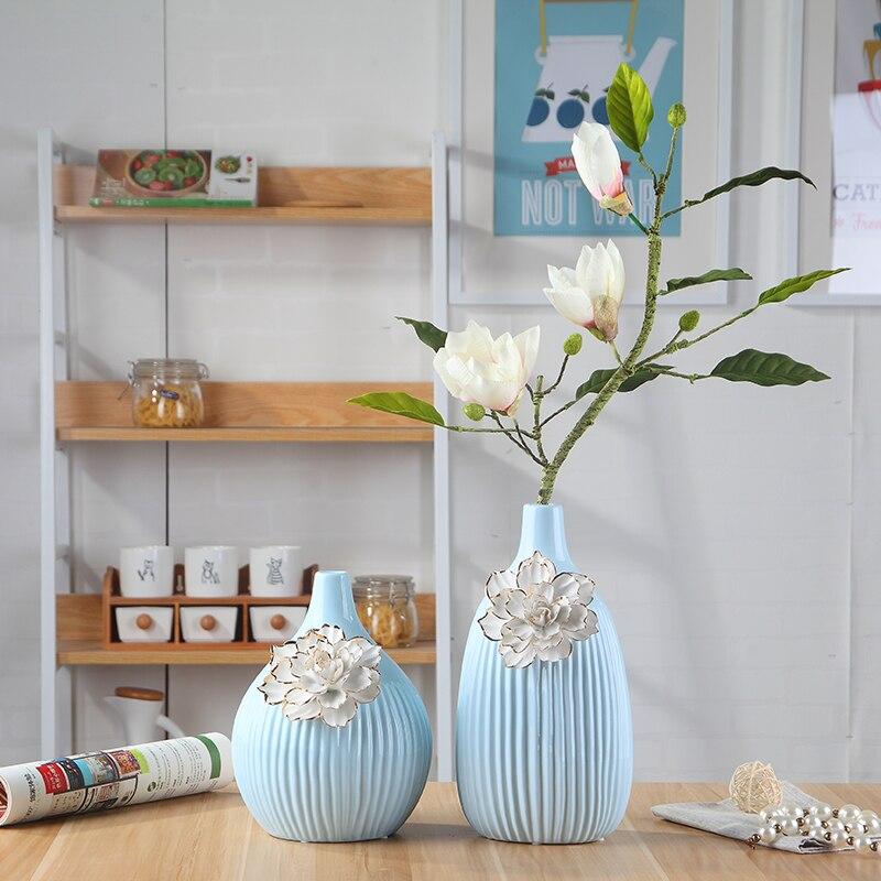 Blue Ceramic Tabletop Vase Home Decoration Handmade Fashion Modern Dining Table Flower