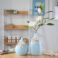 blue ceramic tabletop vase Home decoration handmade fashion modern dining table flower vase