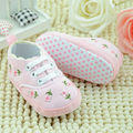 Infant Toddler Flower Crib Shoes Soft Sole Kid Girls Baby Shoes Cotton Lace-Up First Walkers LD789