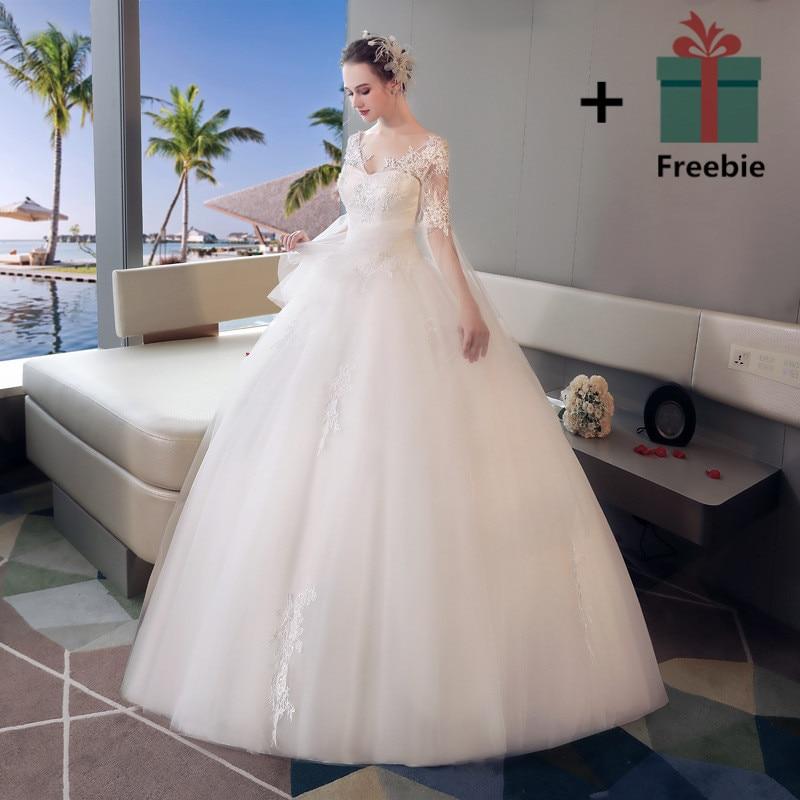 It s YiiYa Double Shoulder Lace Floor length Wedding Dresses Off White V  neck Brides Gowns Vestidos Deovia Casamento HX047-in Wedding Dresses from  Weddings ... 8851b1b108b5