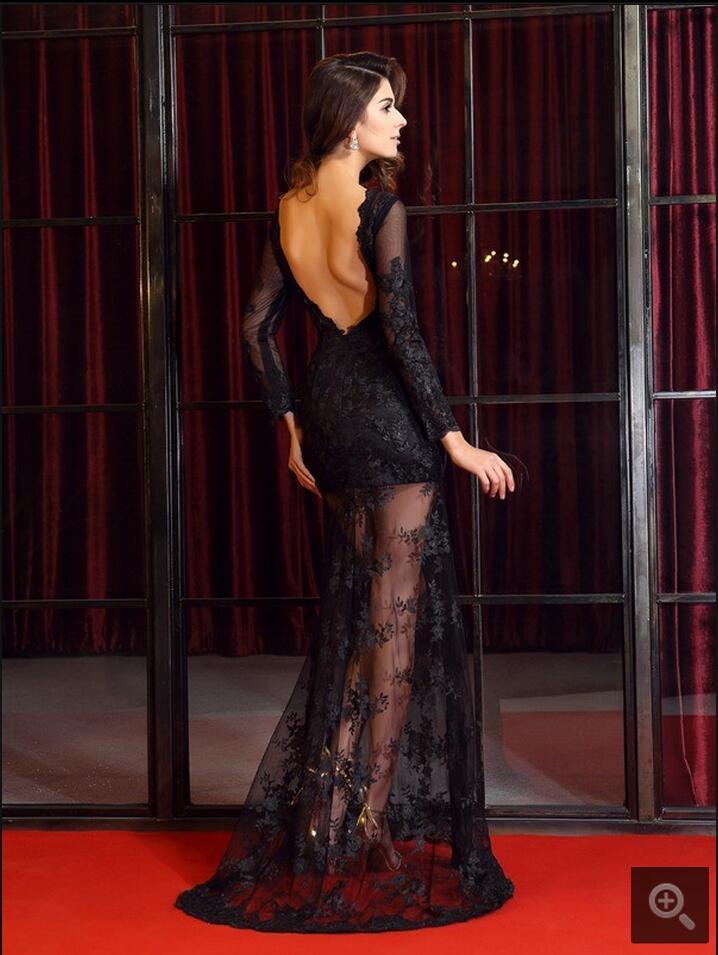 2016 stiilne must pits pikkade varrukatega seljata seksikas - Eriürituste kleidid - Foto 5