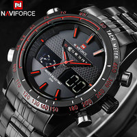 NAVIFORCE Classic Brand Men Sport Watches Mens Waterproof Quartz Watch Man Full Steel LED Digital Analog