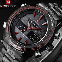 NAVIFORCE Classic Brand Men Sport Watches Mens Waterproof Quartz Watch Man Full Steel LED Digital Analog Clock Relogio Masculino