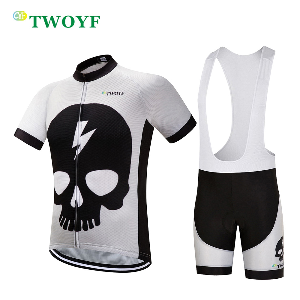 TWOYF Brand short Cycling suits 2018 Summer sportswear Cool Black Skull MTB Bike Jersey sets Racing Bicycle Clothes