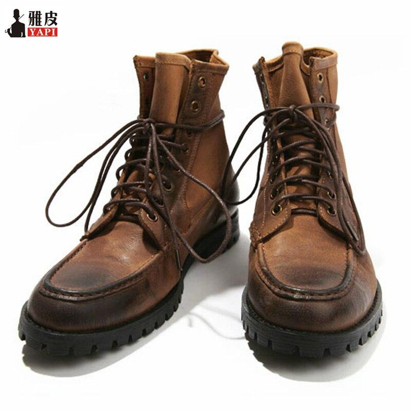 Hombre Militares Motocicleta Invierno Real Zapatos Cuero Botas brown De Us 6 Casual Para Estilo Con Black Cordones 10 Top wfqvYx7R