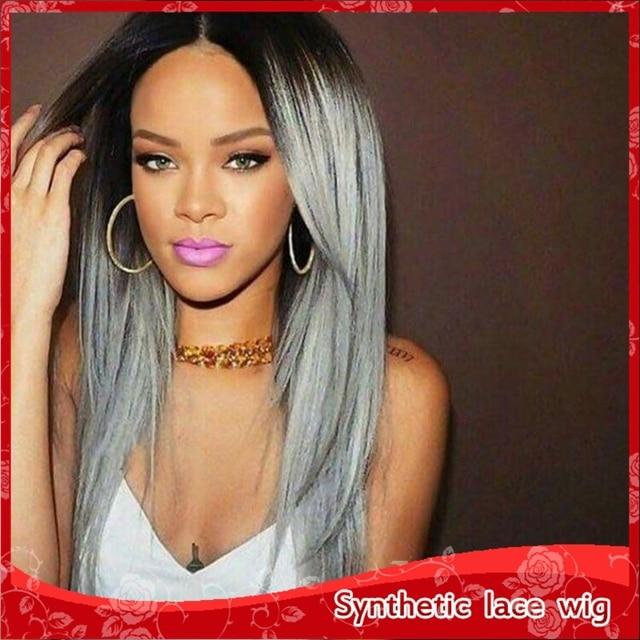 Rihanna hair style long black ombre capelli grigi parrucca anteriore del  merletto parte centrale 3- 0089bdfa7ceb