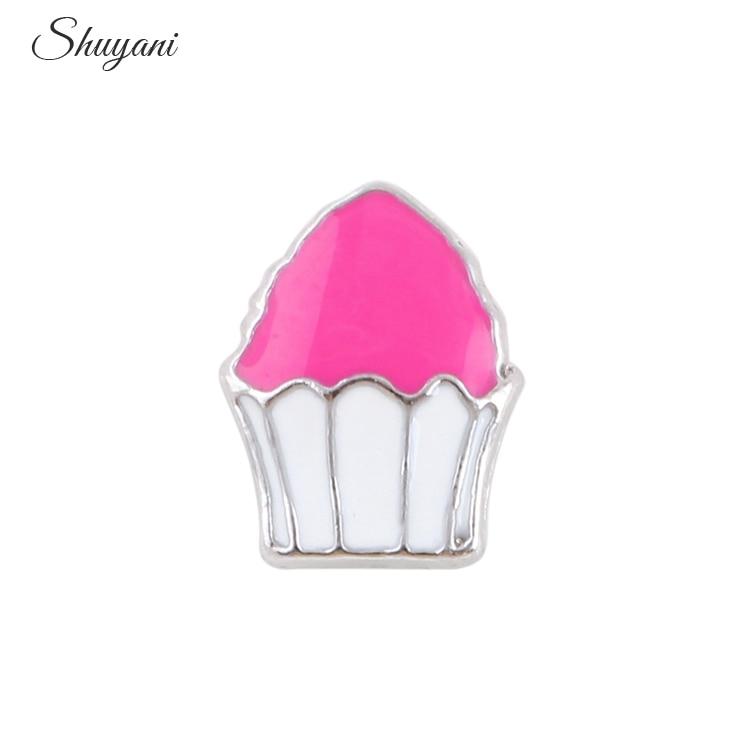 Pink Enamel Sweet Cake Floating Locket Charms Fit Memory Glass Locket Pendant Necklace Jewelry