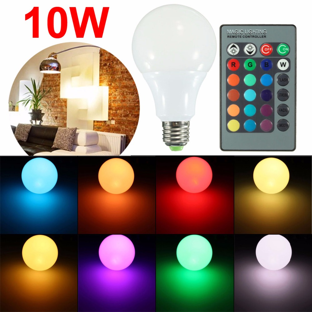 Sale E27 10W RGB 16 Color LED Globe Bulbs AC 85-265 RGB LED Light With 24Key Rmote Control e27 led rgb bulbs 3w 5w 10w rgb globe