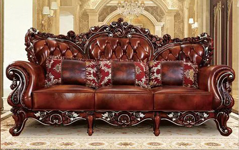 Designer Neoclical Top Graded Cow Real Genuine Leather Antique Living Room Sofa Sectional Set Home Furniture