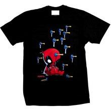 Baby Deadpool Suckers Official Marvel Comics X-Men Black Mens T-shirt T Shirts Short Sleeve Trend Clothing Top Tee
