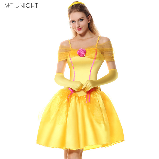 f1d6709fc5ad MOONIGHT Halloween Alice in wonderland Costume Princess Belle Beauty And  The Beast Cosplay Costumes Princess Belle Yellow Dress