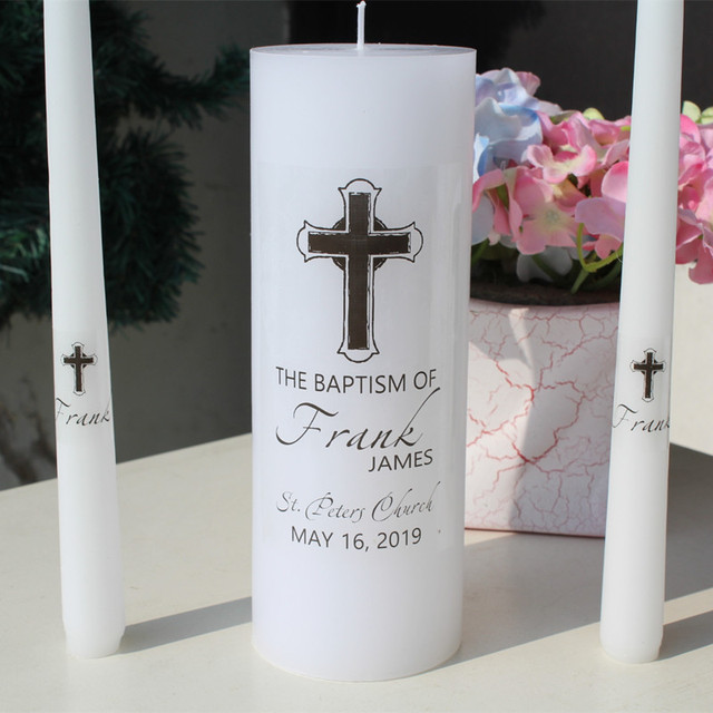 Personalized baptism candle unity set stickers vinyl decal christening first communion candles labels no candle