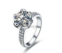 4 карат 925 пробы цветок кольцо лотоса Сона кольцо с бриллиантом 18 К белого золота обручальные кольца группа полный размер от 4 до 10,5 (YD)