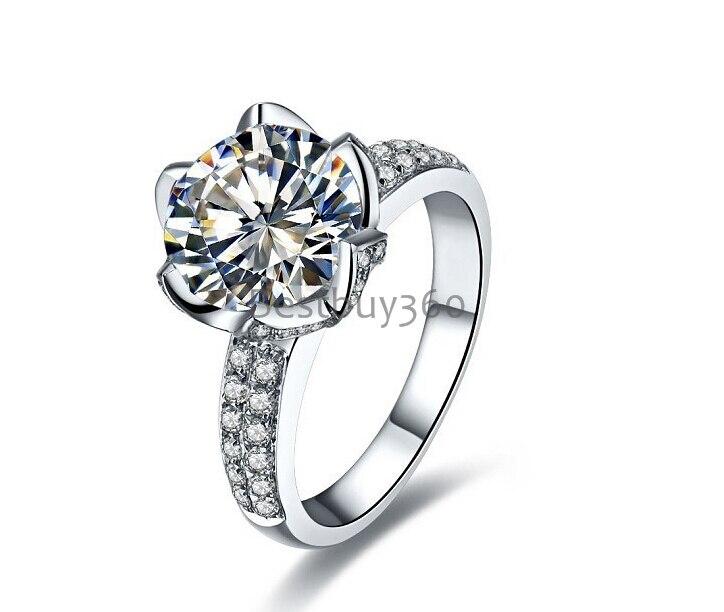 Argent pur 4 Carat 925 fleur Sterling Lotus 925 bague SONA Diamant mariage S925 anneaux bande pleine taille de 4 à 10.5 (YD)