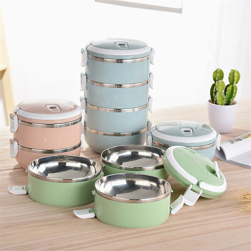 Thermal Lunch Box Patchwork 304 Stainless Steel Food Bento Box for Kids Portable Ladies Lunchbox Storage Box Kitchen Accessories