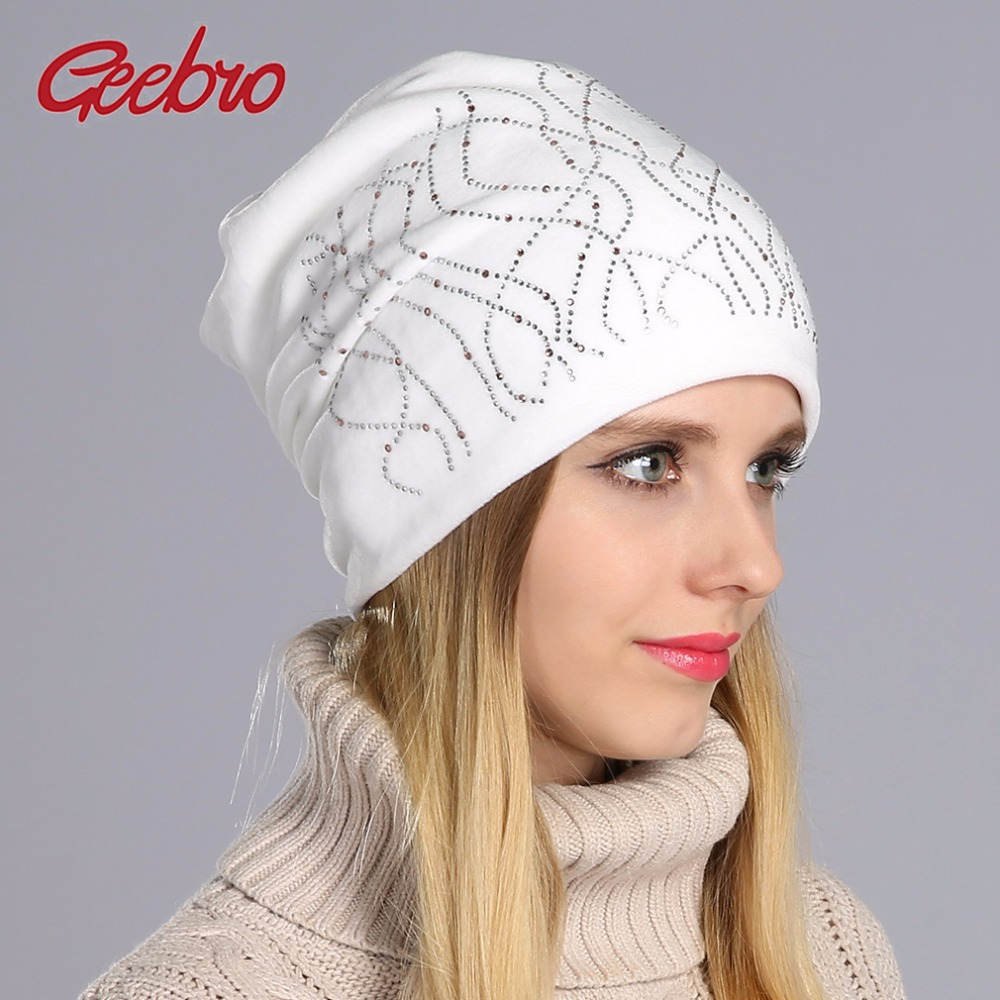 Geebro Brand New Women's Beanie Hat Casual Knitted Beanie For Women Shine Rhinestones Beanies Balaclava Bonnet Cap Female GS062