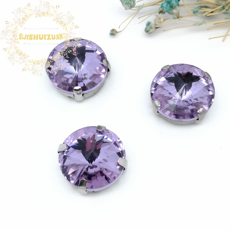 Best-selling Circular Satellite Crystal <font><b>violet</b></font> Crystal Glass Sewing Rhinestones Whith Claw DIY <font><b>Jeans</b></font> Woman and Wedding Dresses