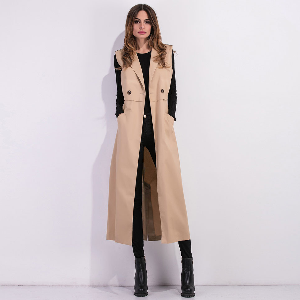 2019 Double Breasted Button Sleeveless Trench High Quality Thick OL Autumn Winter Coat Outwear Suit Collar Solid vest VKCO1007