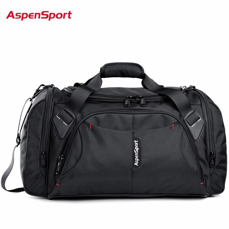 AspenSport Borse Da Viaggio Dei Bagagli per gli uomini di Nylon Duffle Della Borsa Grande Organizzatore Pieghevole Zaini 40L Capacità Nero/Rosso/Blu