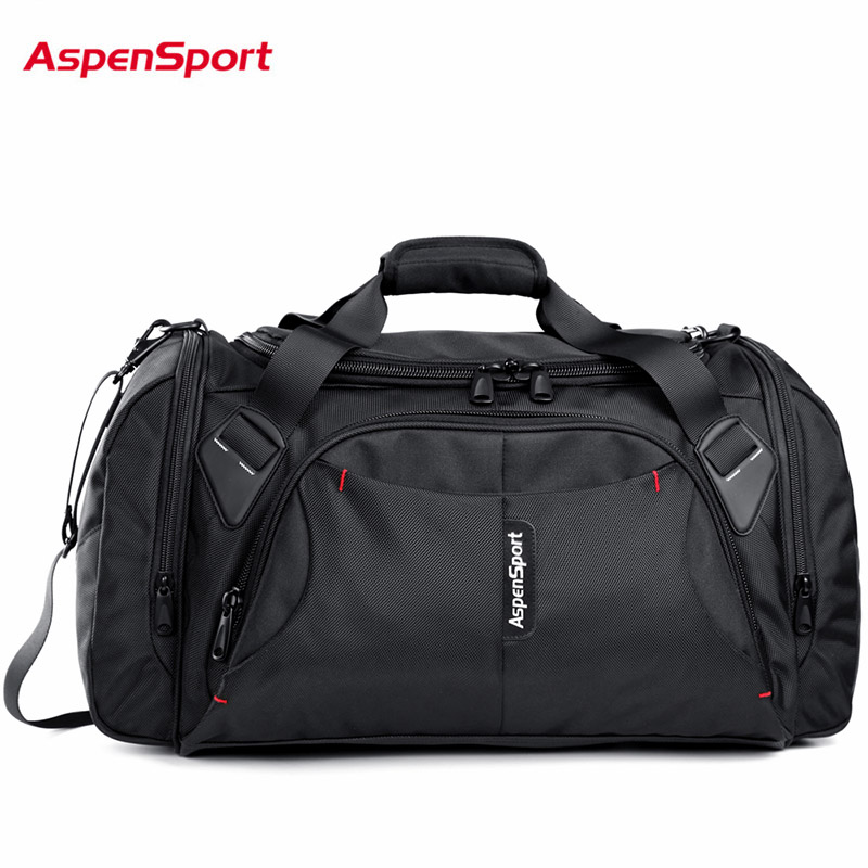 AspenSport Luggage Travel Bags for men Nylon Duffle Handbag Large Organizer Folding Backpacks 40L Capacity Black/Red/Blue