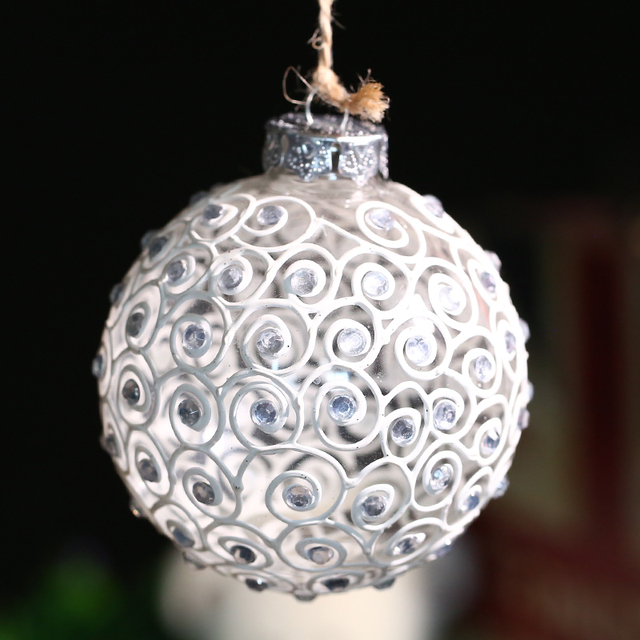 Beautiful Handmade Weding Glass ball Ornament decoration/White Blessing/Valentine'Gift Happy New Year Holiday Xmas Bauble 8cm