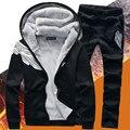 2017 nova outono inverno quente grosso hoodies dos homens ternos dos homens de lã confortável define frete grátis (jacket + calças)