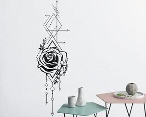 Image 1 - Геометрическая Роза и стрелы Наклейка на стену Роза аппликация Цветочная аппликация украшение на стену спальня гостиная дом Арт Деко Wallpaper2WS43