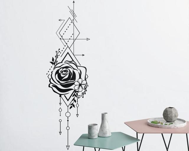Геометрическая Роза и стрелы Наклейка на стену Роза аппликация Цветочная аппликация украшение на стену спальня гостиная дом Арт Деко Wallpaper2WS43