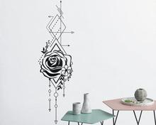 Geometric Rose & Arrow Wall Decal Rose Applique Floral Applique Wall Decoration Bedroom Living Room Home Art Deco Wallpaper2WS43