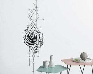 Image 1 - Geometric Rose & Arrow Wall Decal Rose Applique Floral Applique Wall Decoration Bedroom Living Room Home Art Deco Wallpaper2WS43