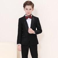 5 шт./компл. Костюм с пиджаком комплект (пальто + брюки + жилет + рубашка + галстук) модная детская одежда костюм для мальчиков для джентльмена С
