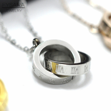 FYSARA Brand Luxury Roman Numeral Two Circle Double Buckle Necklace Pendant Jewelry Female Stainless Steel Clavicle Love Collars