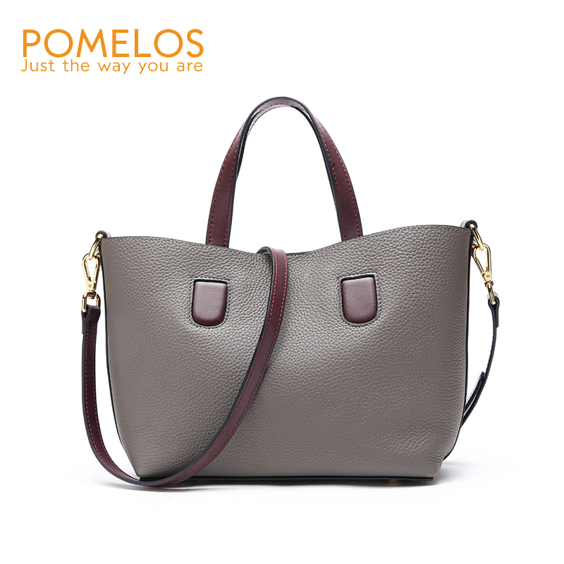 POMELOS Women Bag Luxury Brand Purses And Handbags Shoulder Bag Genuine Leather 2018 New Style Ladies Purse Tote Bag Hand Woman