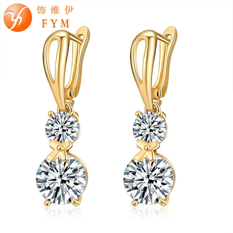 FYM New Fashion Luxury Elegant Women Bow Copper AAA CZ Hoop Earrings Crystal Ear Jewelry Earring for Woman Party ER0122