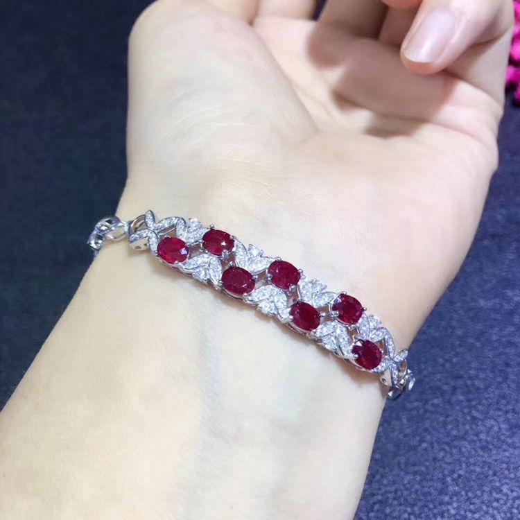American Seller RB3 Free Shipping Ruby Bracelet Rose Gold Plated Bracelet,Natural Ruby Gemstone 925 Sterling Silver