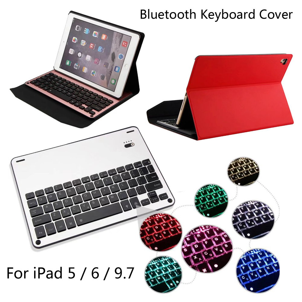 7 Colors LED Backlit 2017 For iPad 5 / 6 / 9.7 / Air / Air 2 Ultra thin Wireless Bluetooth Aluminum Keyboard Case cover + Gift aluminum keyboard case with 7 colors backlight backlit wireless bluetooth keyboard