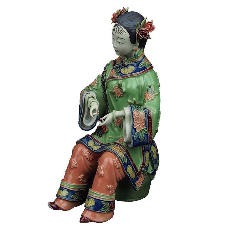 สะสม Angel Figurines จีนโบราณเลียนแบบพอร์ซเลนรูปปั้นเซรามิคประติมากรรมตกแต่งบ้านศิลปะพื้นบ้านตกแต่ง