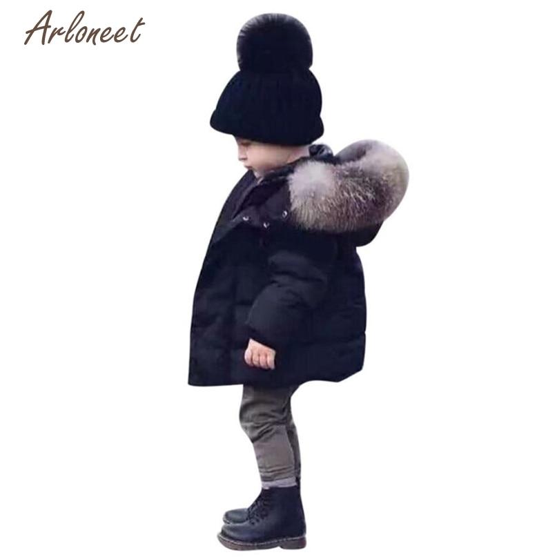 Arloneet/модные куртки и пальто для девочек и мальчиков; зимняя хлопковая теплая верхняя одежда на молнии с капюшоном; Новинка 2017 года; Лидер продаж; OB17