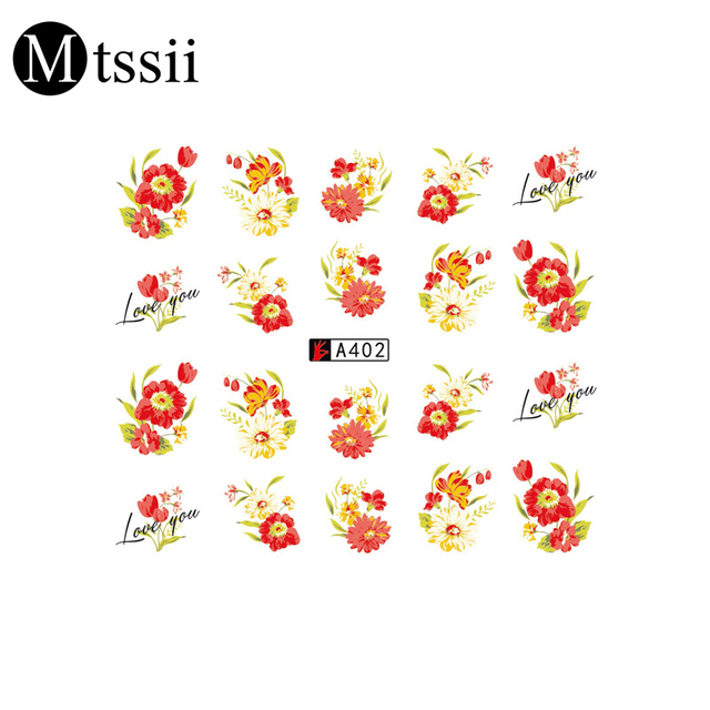 1 Sheets Nail Art Flower Pink Colors Rose Cherry Water Design ...