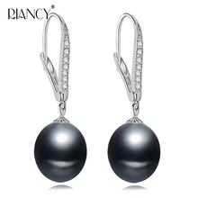 Fashion real 925 sterling silver earrings black natural pearl earring clip freshwater pearl earring for women pearl jewelry gift real natural freshwater pearl earrings women white grey black bridal silver pearl earring