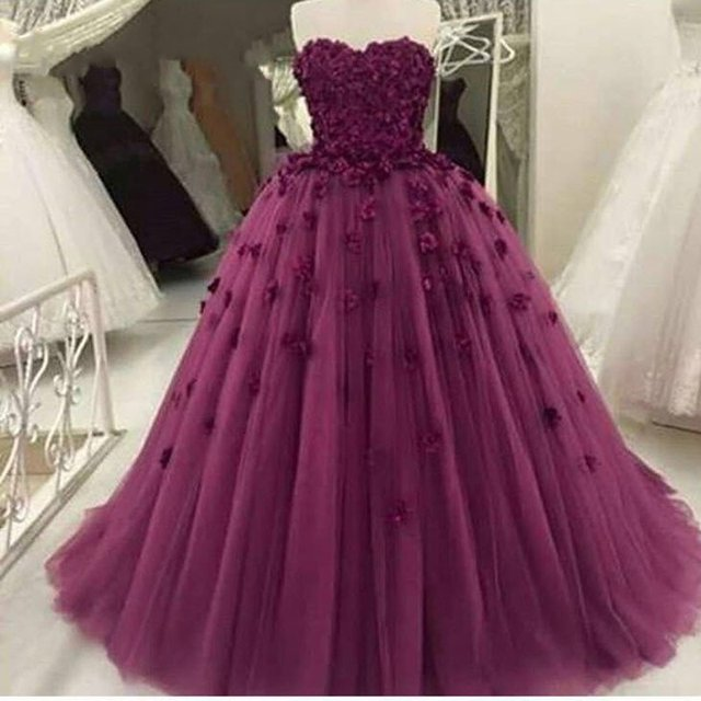 Handmade Purple Ball Gown Wedding Dresses 2017 Tulle with Flowers ...