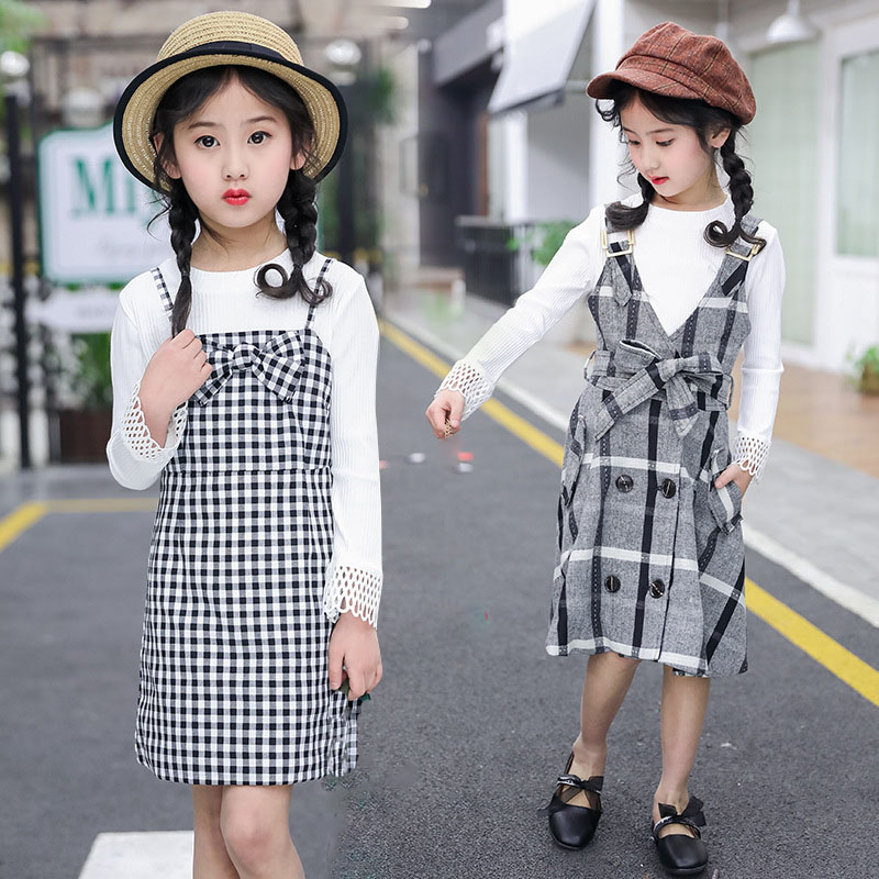 preppy style girls clothing sets new 2018 2 pcs sleeveless plaid dress and hollow out sleeve t shirts for big girls suit clothes acthink 2017 new girls formal solid lace dress shirt brand princess style long sleeve t shirts for girls children clothing mc029