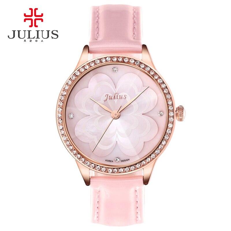 JULIUS Pink Princess Flower Watch Romantic Gift Whatch Women Jelly Rhinestones Brand Watches Lady Girl Retro