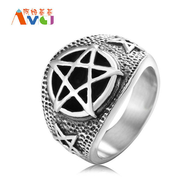 17mm Retro Personality Pentagram Ring Satanism Anium Steel Punk Five Pointed Star Rings For Men Jewelry